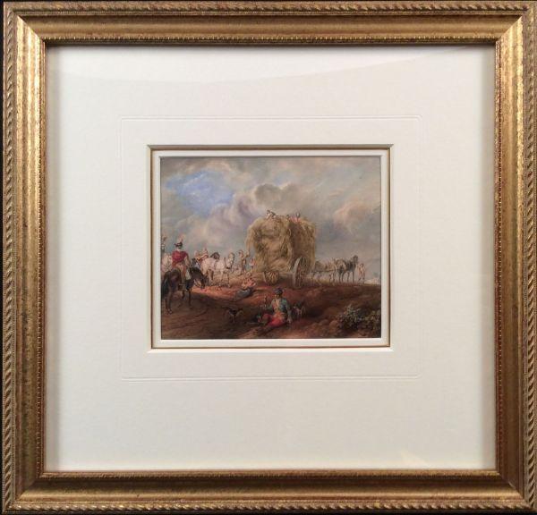 watercolour-Dutch-school-hay-cart-huntsmen-antique-18th-century-IMG_1885_5918