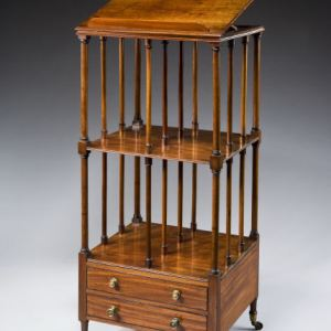 ANTIQUE MAHOGANY CANTERBURY WHATNOT WITH HINGED TOP