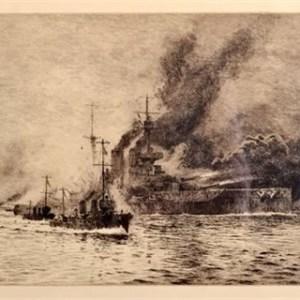 WILLIAM LIONEL WYLLIE-ETCHING-HMS QUEEN ELIZABETH