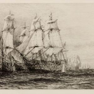 WILLIAM LIONEL WYLLIE - ETCHING - BATTLE OF TRAFALGAR TRYPITCH