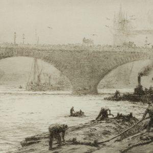 WILLIAM LIONEL WYLLIE-ETCHING-LONG SHOREMEN POOL OF LONDON