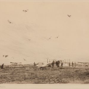 WILLIAM LIONEL WYLLIE - ETCHING - MARKHAM AERODROME 1918