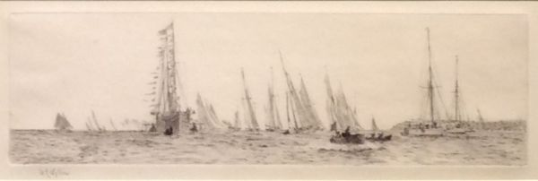 WILLIAM LIONEL WYLLIE - ETCHING - ROYAL YACHT VICTORIA AND ALBERT COWES WEEK