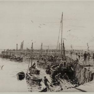 WILLIAM LIONEL WYLLIE - ETCHING - SCOTTISH HERRING FISHERY