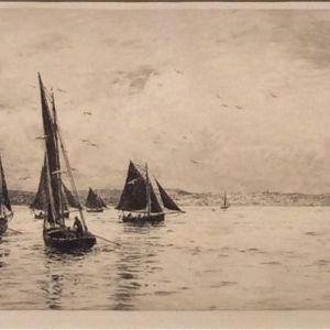 WILLIAM LIONEL WYLLIE-ETCHING-FISHING BOATS SOLENT