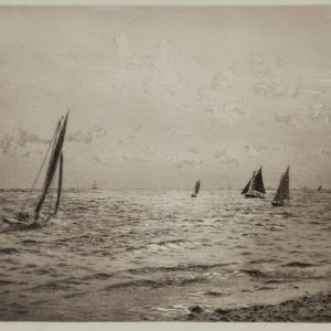 WILLIAM LIONEL WYLLIE-ETCHING-SOLENT SUNLIGHT