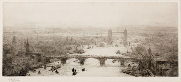 WILLIAM LIONEL WYLLIE-ETCHING-RIVER THAMES LONDON TOWER BRIDGE