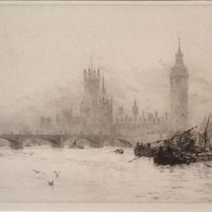 WILLIAM LIONEL WYLLIE-ETCHING-WESTMINSTER HOUSES OF PARLIAMENT