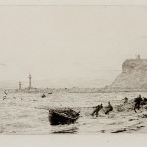 WILLIAM LIONEL WYLLIE - ETCHING - WHITBY FROM THE WEST