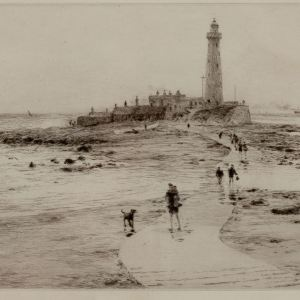 WILLIAM LIONEL WYLLIE - ETCHING - WHITLEY BAY ST MARYS ISLAND AND LIGHTHOUSE