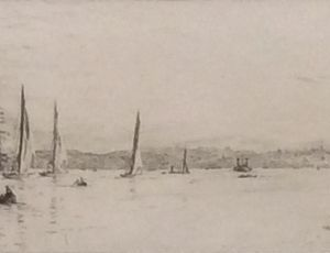 WILLIAM LIONEL WYLLIE -ETCHING - YATCHING IN THE SOLENT OFF RYDE