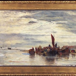 WILLIAM LIONEL WYLLIE-OIL PAINTING-NORTHERN FRANCE