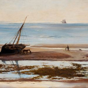 WILLIAM LIONEL WYLLIE-OIL PAINTING-UNLOADING FISH ON SANDBANKS