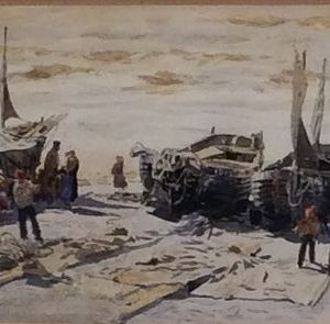 WILLIAM LIONEL WYLLIE-WATERCOLOUR-FISHING BOATS NORTHERN FRANCE