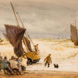 WILLIAM LIONEL WYLLIE-WATERCOLOUR-FISHING BOATS SUSSEX