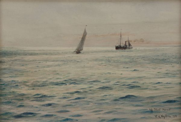 WILLIAM LIONEL WYLLIE-WATERCOLOUR-OFF START POINT