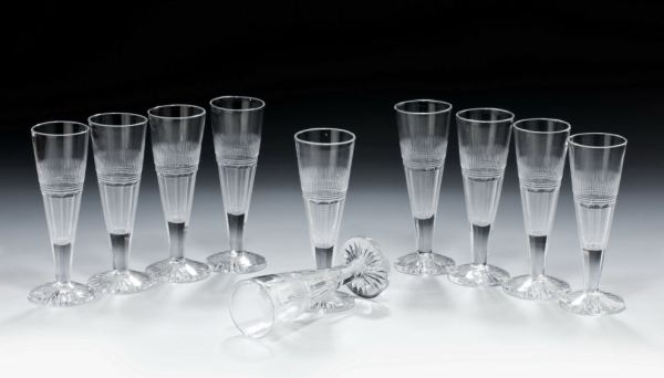 ANTIQUE SET OF TEN WINE FLUTES
