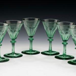 ANTIQUE SET OF SIX GREEN WINE GLASSES