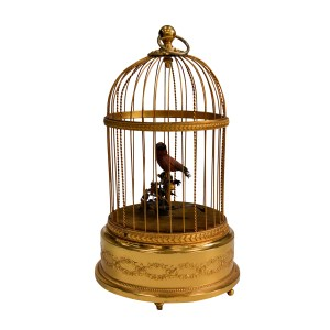 ANTIQUE BONTEMS SMALL SINGING BIRD-IN-CAGE