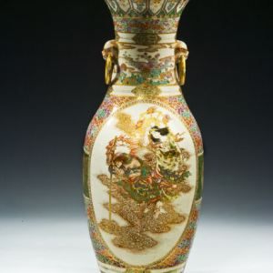 LARGE JAPANESE SATSUMA FLOOR VASE BY GYOKUZAN