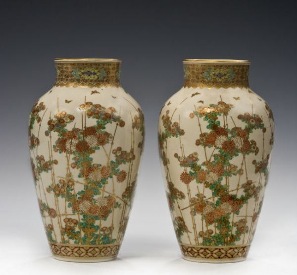 PAIR JAPANESE SATSUMA VASES BY TAIZAN
