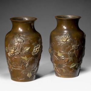 FINE PAIR OF JAPANESE BRONZE VASES