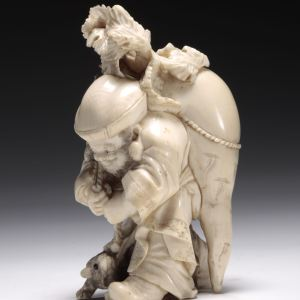 ANTIQUE JAPANESE IVORY OKIMONO OF DAIKOKU GOD OF WEALTH