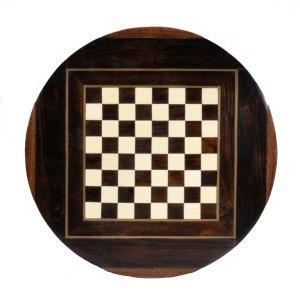 19TH CENTURY CIRCULAR ROSEWOOD CHESS BOARD