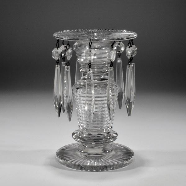 ANTIQUE GLASS LUSTRE CANDLESTICK