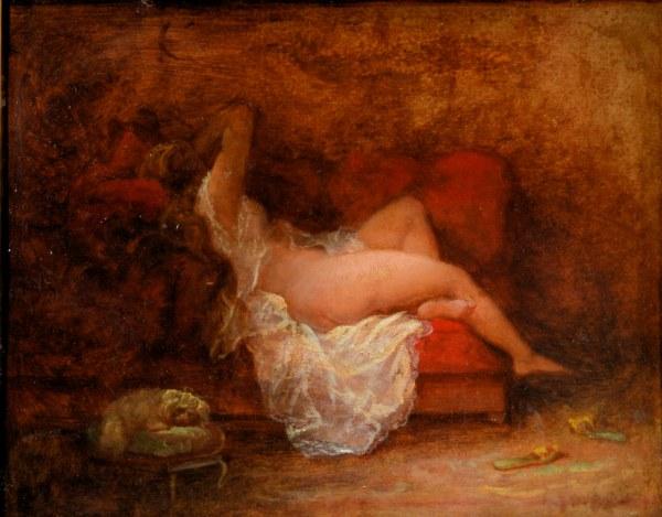 HENRI CHARLES ANTOINE BARON-OIL PAINTING-NUDE FEMALE
