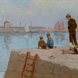 FARQUHAR McGILLIVRAY KNOWLES-OIL PAINTING-BOYS FISHING CORNISH HARBOUR
