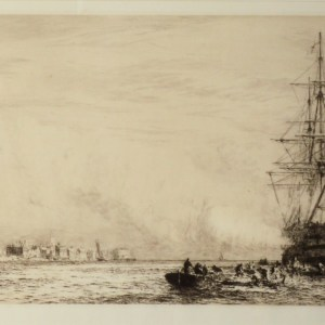 WILLIAM LIONEL WYLLIE-ETCHING-HMS VICTORY