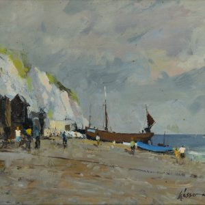 EDWARD WESSON-OIL PAINTING-EAST CLIFF BEACH HASTINGS