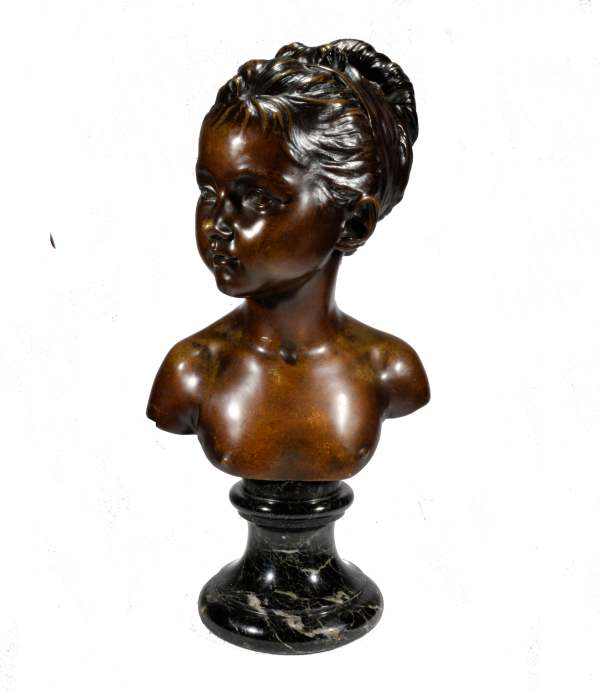 ANTIQUE BRONZE BUST OF A YOUNG WOMAN