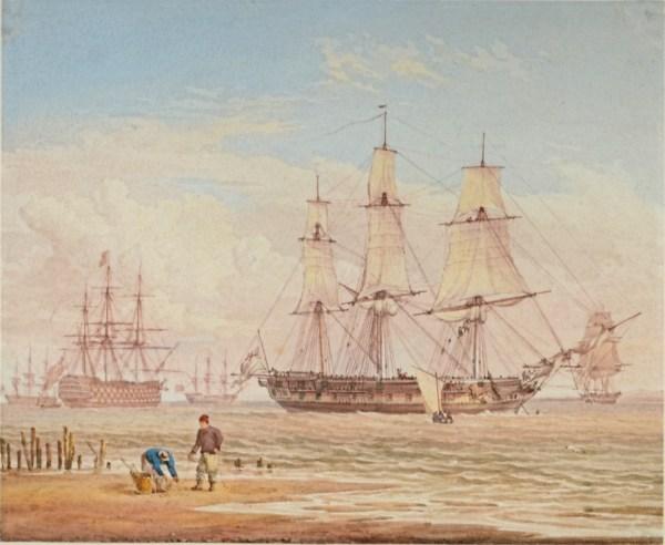 WILLIAM JOY-WATERCOLOUR-ROYAL NAVAL SHIPS OF THE COAST