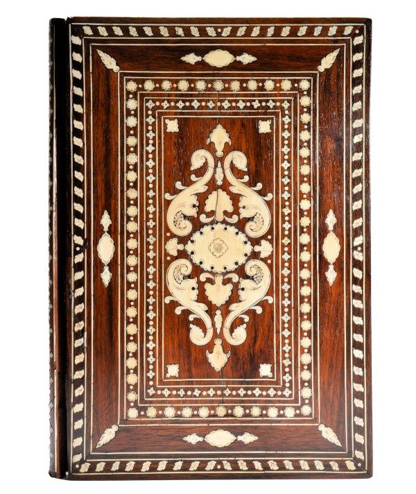 ANTIQUE INDIAN ROSEWOOD AND IVORY INLAID BOOK HOLDER