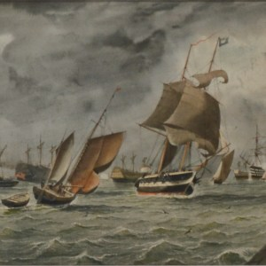 WILLIAM EDWARD ATKINS-WATERCOLOUR-SHIPPING ENTRANCE PORTSMOUTH HARBOUR