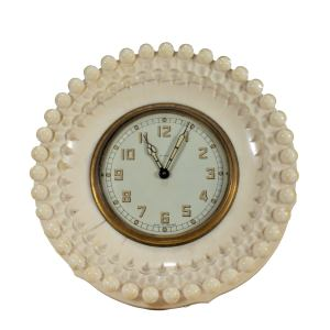 ANTIQUE IVORY CASED ENGLISH STRUT CLOCK