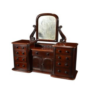 ANTIQUE MINIATURE MAHOGANY GENTLEMANS DRESSING TABLE