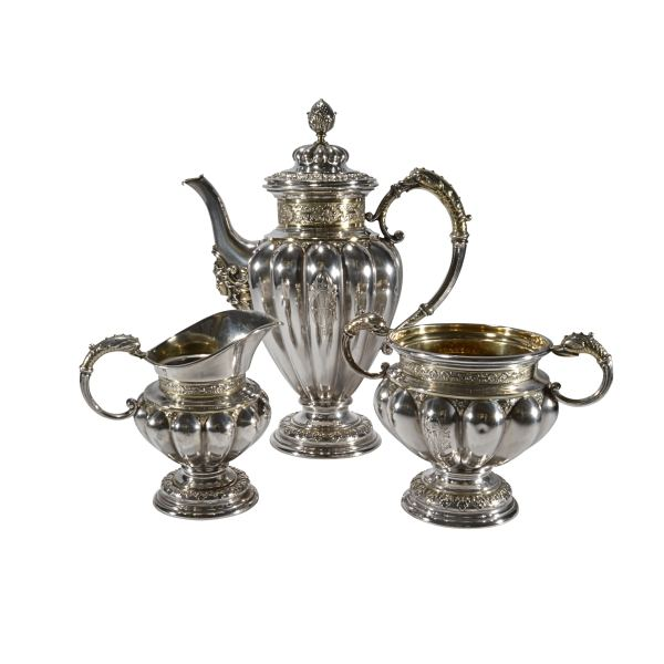 ANTIQUE CONTINENTAL SILVER & SILVER GILT COFFEE SERVICE