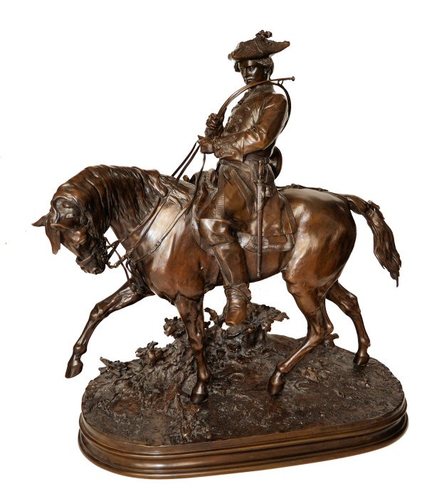PIERRE JULES MENE-BRONZE-THE MOUNTED HUNTSMAN