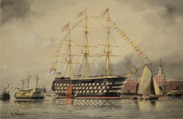 WILLIAM EDWARD ATKINS-WATERCOLOUR-HMS VICTORY
