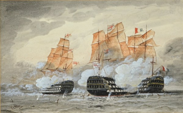WILLIAM EDWARD ATKINS-WATERCOLOUR-ROYAL NAVY BATTLE SCENE