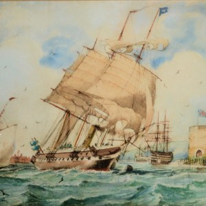 WILLIAM EDWARD ATKINS-WATERCOLOUR-5TH RATE STEAM SAIL FRIGATE
