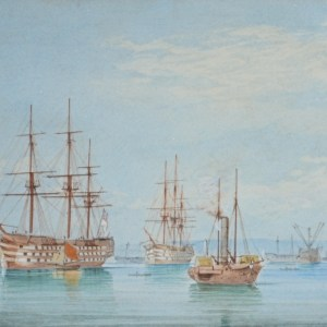 WILLIAM EDWARD ATKINS-WATERCOLOUR-ROYAL NAVAL SHIPS PORTSMOUTH