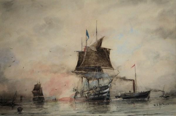 WILLIAM EDWARD ATKINS-WATERCOLOUR-ROYAL NAVY SHIP LEAVING HARBOUR