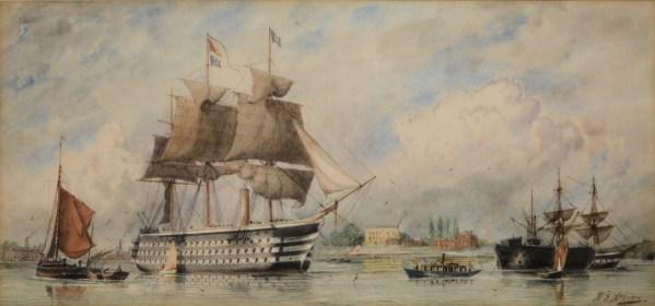 WILLIAM EDWARD ATKINS-WATERCOLOUR-HMS WELLINGTON