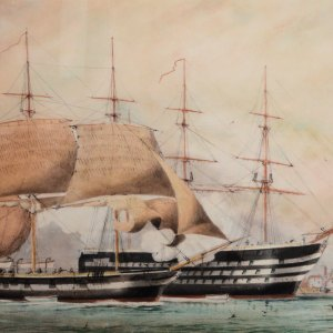 WILLIAM EDWARD ATKINS-WATERCOLOUR-HMS VINCENT PORTSMOUTH