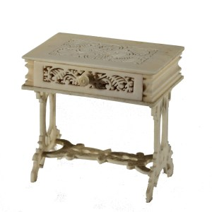 ANTIQUE MINIATURE GERMAN BONE SIDE TABLE