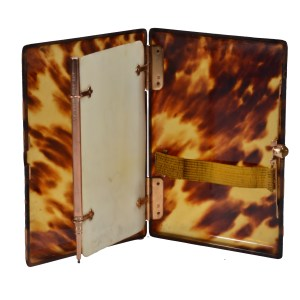 ANTIQUE TORTOISESHELL CARD CASE & AIDE MEMOIRE